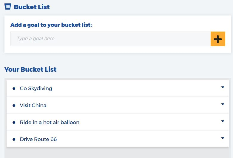 The main section on the Bucket List tool