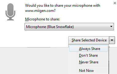 Allow Firefox microphone always